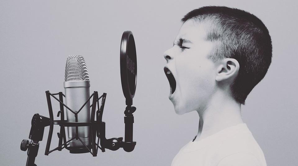 防音室 マイクと歌う少年