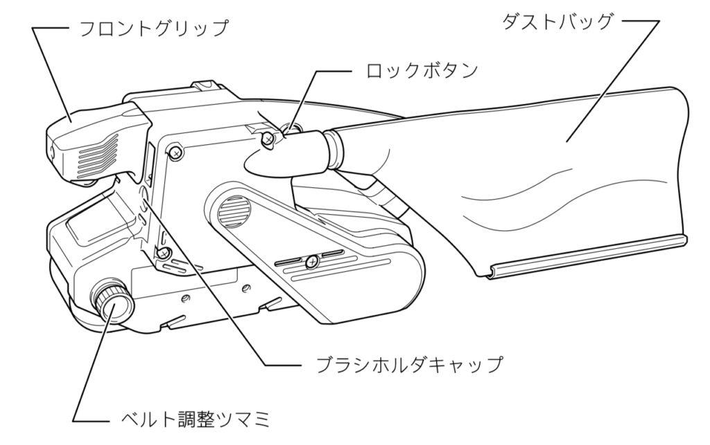 本体を裏返して、ベルトサンディングを上面にして使う