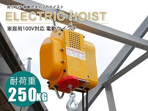 電動ウインチ 強力小型ホイスト 家庭用100V対応 50Hz 最大能力250kg