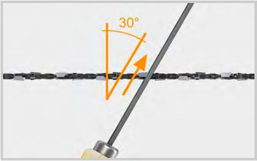 ソーチェーン 上刃に対してヤスリをかける角度